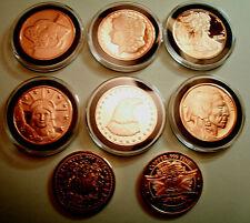 New listing 6 -1 oz 999 Copper Bullion Rds-w/Black Rim *Assorted Variety Designs!* - Gifts!