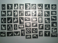 40 pochoirs de tatouage pour les tatouages paillettes / body art - Secondes