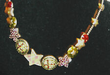 """Handmade GREEN BADGE & CRYSTAL CHARM Necklace  by PILGRIM - 14 to17"""" Long NEW"""