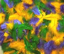 "Mardi Gras Marabou Feathers Small 1-3"" fluffs 7 grams Green Gold & Purple 105 ct"