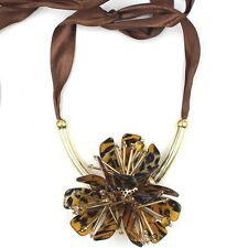 MARNI FOR H&M 3 TORTOISESHELL GOLD FLOWERS NECKLACE - ADJUSTABLE LENGTH - NEW