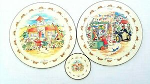Royal Doulton Bunnykins Placemats And Coaster Set 1997 Vintage Collectable