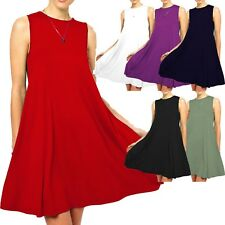 Ladies Round Neck Sleeveless Swing Dress Skater Midi A-line Flared Tea Plain