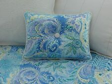 NEW Custom Ralph Lauren Jamaica Blue Paisley Accent Pillow 1 Button