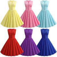 50s 60s Retro Hepburn Style Sleeveless Swing Rockabilly Housewife Pinup Dress