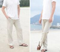 Men's Beach Pants Casual Linen Trousers Cotton Khaki Loose Elastic Waist Pants L