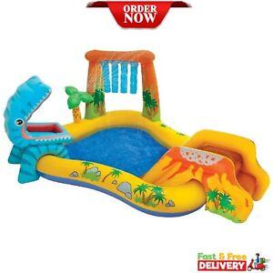 Intex Dinosaur Kids Splash Paddling Pool, Activity Play Centre with Mini Slide