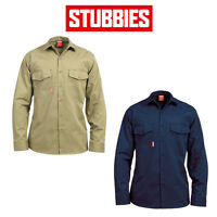 Mens Stubbies Long Sleeve Cotton Drill Shirt Cooling Vents Workwear Safe BW2330