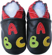 carozoo ABC black 12-18m soft sole leather baby shoes