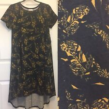 LuLaRoe Carly Dress Size XS Extra Small Charcoal w/ Aztec Yellow Gold Feathers