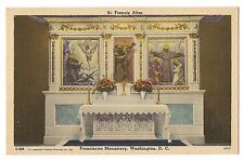 Franciscan Monastery St. Francis Assisi Altar Washington DC Postcard Linen Art