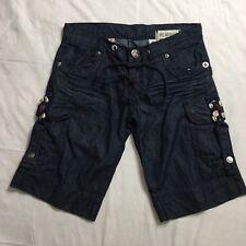 BCBGirls  Shorts Womens Size 25 Cargo Dark Wash Distressed Drawstring Denim EUC