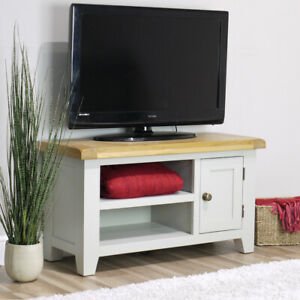 Arklow Painted Oak Small TV Stand / 90cm Grey Solid TV Unit / Storage Cabinet
