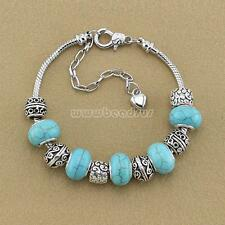 Women Jewelry European 925 Charm Bangle Crystal Turquoise Bead Charms Bracelet