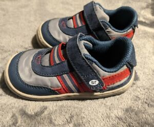 Toddler Boys Stride Rite Size 6 Blue & Red Caden Shoes - Excellent Condition!