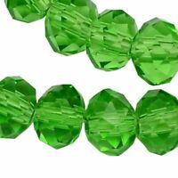 20 TSCHECHISCHE Kristall Perlen 8mm Glasschliff Grün Peridot Rondell X68