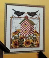 Cross Stitch Pattern NO PLACE LIKE HOME Blackbird Birdhouse Red Check Sunflower