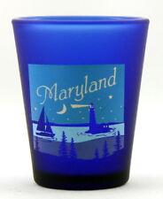 MARYLAND NAUTICAL SCENE COBALT SHOT GLASS SHOTGLASS