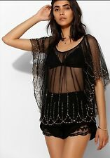 Urban Outfitters Ecote Beaded Black Top Blouse M/L