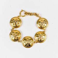 VINTAGE Chanel Gold Tone Metal 'CC' Quilted Medallion Bracelet
