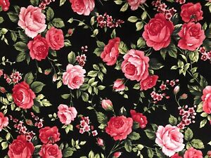 Black Cotton With Roses.Delicate 100% Cotton. Customers Favorite. BTY