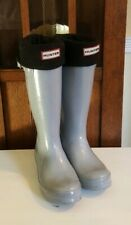WOMENS HUNTER GRAY RAIN BOOTS WITH LINER ~ 8