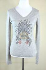 100% Cashmere  V-Neck Grey Sweater embellished with Swarovski crystals Size L