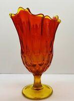 "Vintage Fenton Amberina Glass Thumbprint Handkerchief Vase 8.5"" Tall"