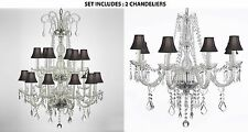 Set of 2 - Crystal Chandeliers chandelier Lighting 18 and 8 lights black shades