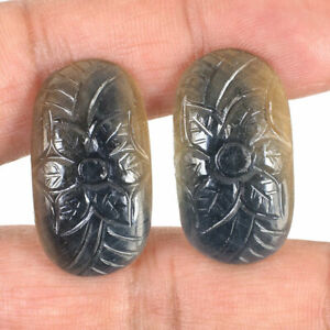 2 Pcs Natural Sapphire Pair Bi-Color 29mm/16mm Majestic Unheated Carved Gems