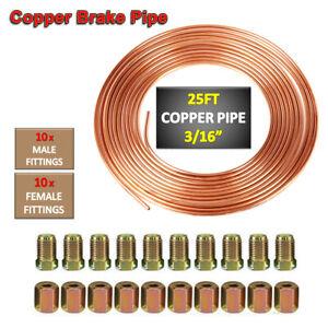 "Copper Steel Nickel Kunifer Brake Line Pipe 25ft Roll 3/16"" Metric 20pcs Fitting"