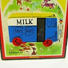 Vintage Milk Truck Magnetic Inlaid Plastic Puzzle 1960's Farm Dairy Playskool