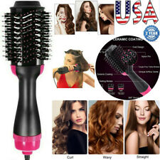 4 IN 1 Negative Ion One Step Blower Comb Brush Straighten Curling Hair Dryer US
