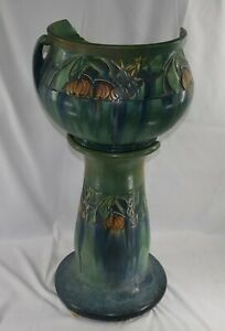 Roseville Pottery Baneda Green Jardiniere & Pedestal 626-10 As-Is