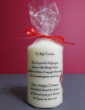 Teacher Thank You Christmas Present Gift Personalised Candle