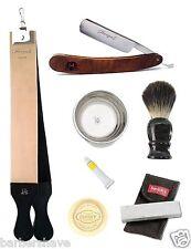 Wood Cut Throat Razor Leather Strop Mug Soap Badger Brush Stone Shaving Set 7pcs