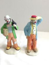 Set of 2 Emmett Kelly Jr Flambro Clown Figurines