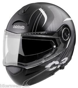 Schuberth C3 Gloss Black Stripes Motorcycle Helmet Flip Front Size S
