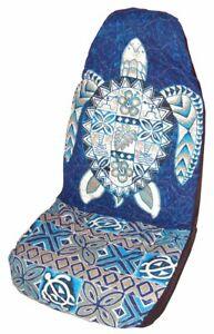 Blue Sea Turtle (Honu) Hawaiian Car Seat Cover - Set of 2