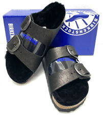 Birkenstock Arizona Big Buckle Women's Sz 7(EU38)N Fit Black Fur Sandals S1-111