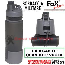 Borraccia Militare da 1/2 Litro Escursionismo Campeggio RIPIEGABILE Grigia FOX