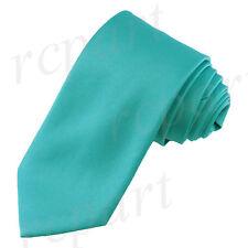 New Vesuvio Napoli Men's necktie solid color 100% polyester wedding prom teal