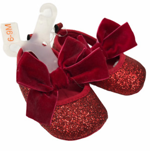 6-9 M Sparkling Glitter Ruby Red Slippers Velvet Bows Dorothy Wizard of Oz-ish