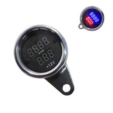 Motorcycle LED Dual Digital Tacho Tachometer Voltmeter Gauge Meter Waterproof