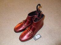 Primark metallic rust orange red ladies ankle boots - size 5