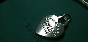 Tiffany & Co Ciondolo Cuore LARGE con ANELLO g7,91 ! List.€155 x Collana Arg 925