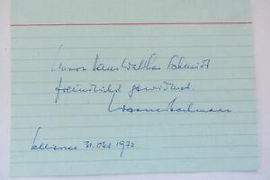 Altes OriginalautogrammWERNER BOCHMANN  von 1972- verstorben 1993
