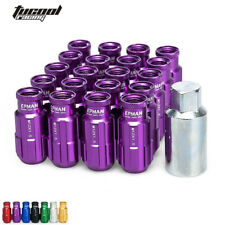 20PCS 12X1.5MM Racing Lug Nuts Aluminum Open End Extenede Turner With Key Purple