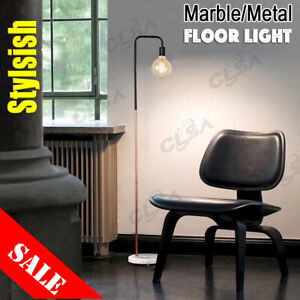 Floor Light Desk Lamp Vintage Marble Base Metal Matt Black Copper Plating