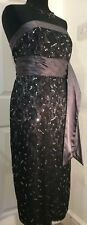 Next dark grey strapless party dress size 12 black lace and silver sequin detail